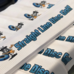 Straight Line Waffle Towel 1 White with blue print